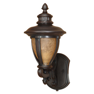 (1 Light) (Arm Up) Wall Lantern - Old Penny Bronze / Tobago Glass - Nuvo Lighting 60-2516 - Residential Light Fixture