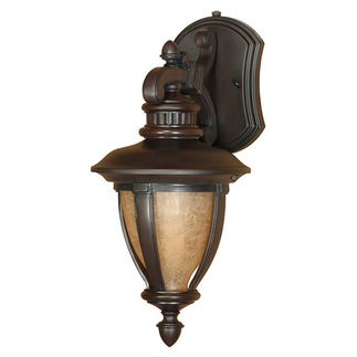 (1 Light) (Arm Down) Wall Lantern - Old Penny Bronze / Tobago Glass - Nuvo Lighting 60-2517