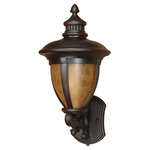 (1 Light) (Arm Up) Wall Lantern - Old Penny Bronze / Tobago Glass - Nuvo Lighting 60-2518 - Residential Light Fixture