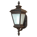 (1 Light) (Arm Up) Wall Lantern - Old Penny Bronze / White Water Glass - Nuvo Lighting 60-2523 - Residential Light Fixture