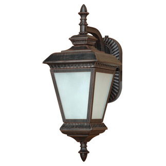 (1 Light) (Arm Down) Wall Lantern - Old Penny Bronze / White Water Glass - Nuvo Lighting 60-2526