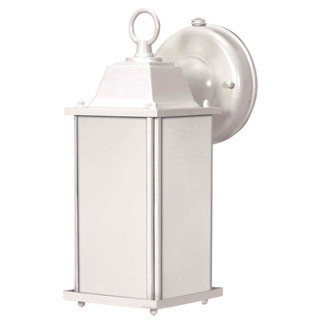 (1 CFL) Wall Lantern - White / Frosted Beveled Glass - Nuvo Lighting 60-2527
