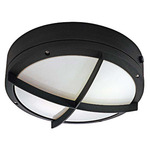(2 Light) - Round Wall or Ceiling Fixture - Cross Grill - Architectural Bronze / White Lexan - Nuvo Lighting 60-2544