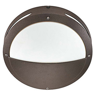 (2 Light) - Round Hooded Wall or Ceiling Fixture - Architectural Bronze / White Lexan - Nuvo Lighting 60-2548