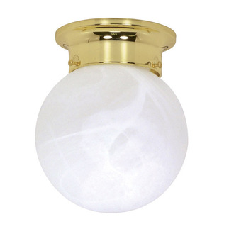 (1 Light) Ceiling Mount Ball Fixture - Polished Brass / Alabaster Glass - Nuvo Lighting 60-255