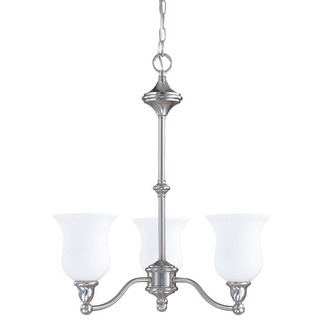 (3 CFL) Chandelier - Brushed Nickel / Satin White Glass - Energy Star Qualified - Nuvo Lighting 60-2556