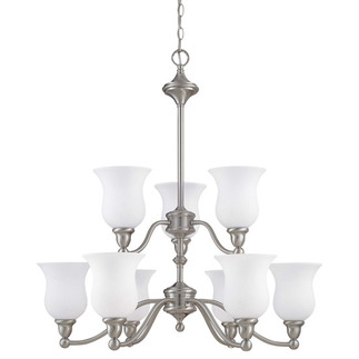 (9 CFL) (2 Tier) Chandelier - Brushed Nickel / Satin White Glass - Energy Star Qualified - Nuvo Lighting 60-2558