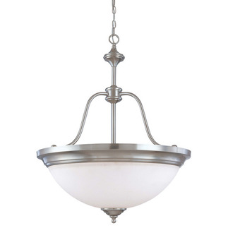 (4 CFL) Large Pendant - Brushed Nickel / Satin White Glass - Energy Star Qualified - Nuvo Lighting 60-2561