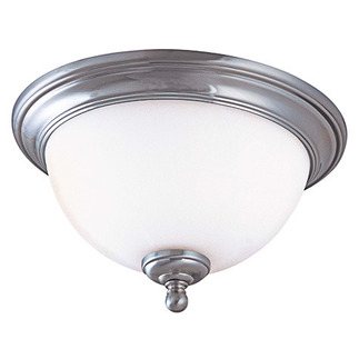 (1 CFL) Flush Mount Ceiling Fixture - Satin Brushed Nickel / White Glass - Energy Star Qualified - Nuvo Lighting 60-2564