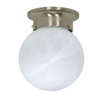 (1 Light) Ceiling Mount Ball Fixture - Brushed Nickel / Alabaster Glass - Nuvo Lighting 60-257
