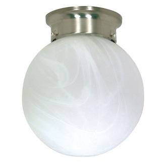 (1 Light) Ceiling Mount Ball Fixture - Brushed Nickel / Alabaster Glass - Nuvo Lighting 60-258 - Residential Light Fixture