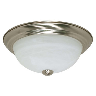 (2 CFL) Flush Mount Ceiling Fixture - Brushed Nickel / Alabaster Glass - Energy Star Qualified - Nuvo Lighting 60-2621 - Residential Light Fixture