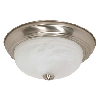 (2 CFL) Flush Mount Ceiling Fixture - Brushed Nickel / Alabaster Glass - Energy Star Qualified - Nuvo Lighting 60-2622 - Residential Light Fixture