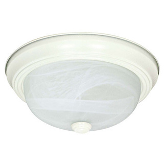 (2 CFL) Flush Mount Ceiling Fixture - Textured White / Alabaster Glass - Energy Star Qualified - Nuvo Lighting 60-2631