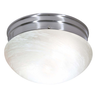 (2 CFL) Medium Mushroom Ceiling Fixture - Brushed Nickel / Alabaster Glass - Energy Star Qualified - Nuvo Lighting 60-2635