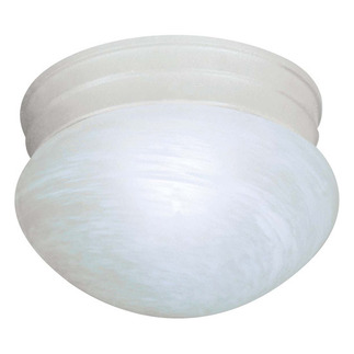 (1 CFL) Small Mushroom Ceiling Fixture - Textured White / Alabaster Glass - Energy Star Qualified - Nuvo Lighting 60-2636