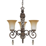 (3 Light) Chandelier - Cappuccino / Amaretto Glass - Nuvo Lighting 60-2701 - Residential Light Fixture