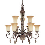 (9 Light) (2 Tier) Chandelier - Cappuccino / Amaretto Glass - Nuvo Lighting 60-2703