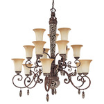 (15 Light) (3 Tier) Chandelier - Cappuccino / Amaretto Glass - Nuvo Lighting 60-2704 - Residential Light Fixture