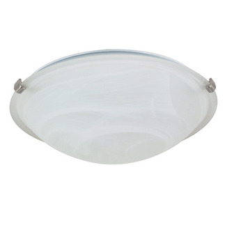 (2 Light) Flush Mount Ceiling Fixture - Tri-Clip - Brushed Nickel / Alabaster Glass - Nuvo Lighting 60-271