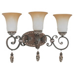 (3 Light) Vanity - Cappuccino / Amaretto Glass - Nuvo Lighting 60-2715