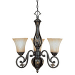 (3 Light) Chandelier - Belgium Bronze / Fresco Glass - Nuvo Lighting 60-2721