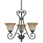 (3 Light) Chandelier - Sudbury Bronze / Champagne Linen Glass - Nuvo Lighting 60-2741