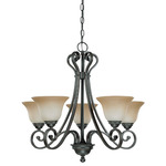 (5 Light) (Arms Up) Chandelier - Sudbury Bronze / Champagne Linen Glass - Nuvo Lighting 60-2742