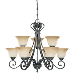 (9 Light) (2 Tier) Chandelier - Sudbury Bronze / Champagne Linen Glass - Nuvo Lighting 60-2744