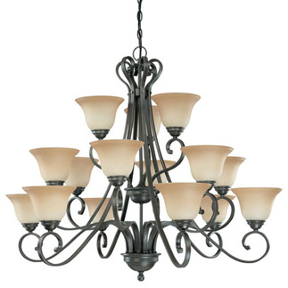 (15 Light) (3 Tier) Chandelier - Sudbury Bronze / Champagne Linen Glass - Nuvo Lighting 60-2745