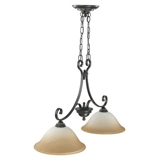 (2 Light) Trestle - Sudbury Bronze / Champagne Linen Glass - Nuvo Lighting 60-2746 - Residential Light Fixture