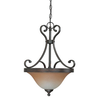 (3 Light) Pendant - Sudbury Bronze / Champagne Linen Glass - Nuvo Lighting 60-2747 - Residential Light Fixture