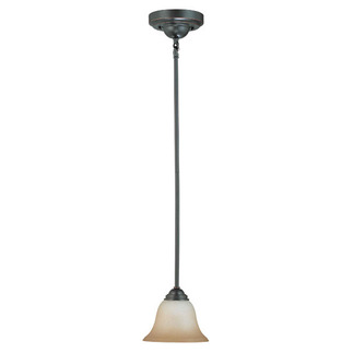 (1 Light) Mini Pendant - Sudbury Bronze / Champagne Linen Glass - Nuvo Lighting 60-2749