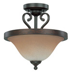 (2 Light) Semi-Flush Ceiling Fixture (Convertible) - Sudbury Bronze / Champagne Linen Glass - Nuvo Lighting 60-2751 - Residential Light Fixture
