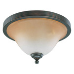 (3 Light) Flush Mount Ceiling Fixture - Sudbury Bronze / Champagne Linen Glass - Nuvo Lighting 60-2754