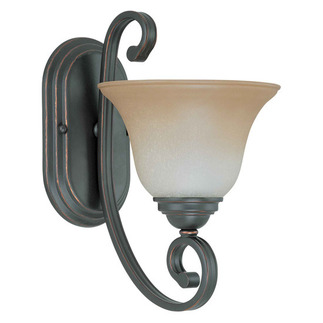 (1 Light) Vanity - Sudbury Bronze / Champagne Linen Glass - Nuvo Lighting 60-2755