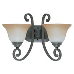(2 Light) Vanity - Sudbury Bronze / Champagne Linen Glass - Nuvo Lighting 60-2756 - Residential Light Fixture
