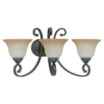 (3 Light) Vanity - Sudbury Bronze / Champagne Linen Glass - Nuvo Lighting 60-2757 - Residential Light Fixture