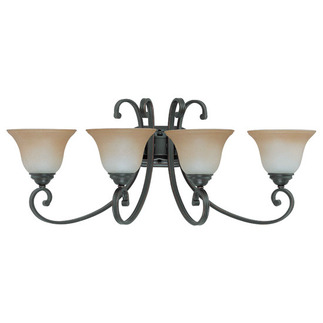(4 Light) Vanity - Sudbury Bronze / Champagne Linen Glass - Nuvo Lighting 60-2758