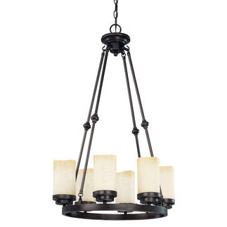(6 Light) Round Chandelier - Patina Bronze / Saddle Stone Glass - Nuvo Lighting 60-2762