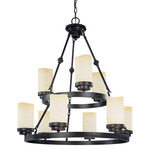(9 Light) (2 Tier) Round Chandelier - Patina Bronze / Saddle Stone Glass - Nuvo Lighting 60-2765