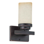 (1 Light) Vanity - Patina Bronze / Saddle Stone Glass - Nuvo Lighting 60-2768 - Residential Light Fixture