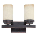 (2 Light) Vanity - Patina Bronze / Saddle Stone Glass - Nuvo Lighting 60-2769