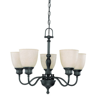 (5 Light) (Arms Up) Chandelier - Aged Bronze / Biscotti Glass - Nuvo Lighting 60-2776