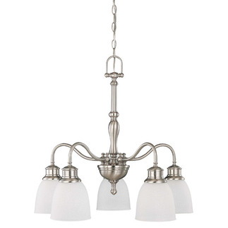 (5 Light) (Arms Down) Chandelier - Brushed Nickel / Frosted Linen Glass - Nuvo Lighting 60-2777