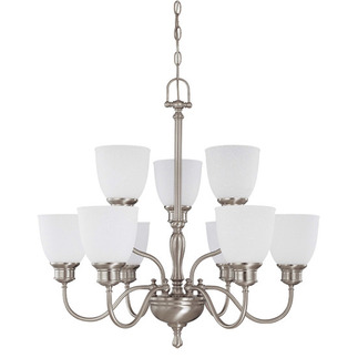 (9 Light) (2 Tier) Chandelier - Brushed Nickel / Frosted Linen Glass - Nuvo Lighting 60-2779