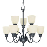 (9 Light) (2 Tier) Chandelier - Aged Bronze / Biscotti Glass - Nuvo Lighting 60-2781
