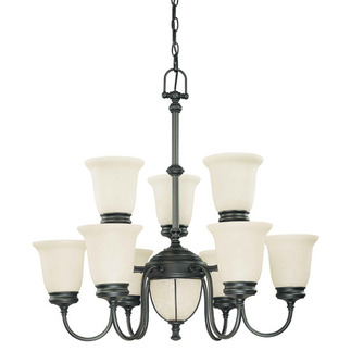 (6 + 3 Light) (2 Tier) Chandelier - Aged Bronze / Biscotti Glass - Nuvo Lighting 60-2811 - Residential Light Fixture