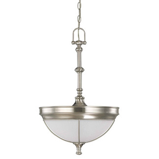 (3 Light) Pendant - Brushed Nickel / Frosted Linen Glass - Nuvo Lighting 60-2814 - Residential Light Fixture