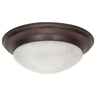 (3 Light) Flush Mount Ceiling Fixture - Twist & Lock - Old Bronze / Alabaster Glass - Nuvo Lighting 60-282